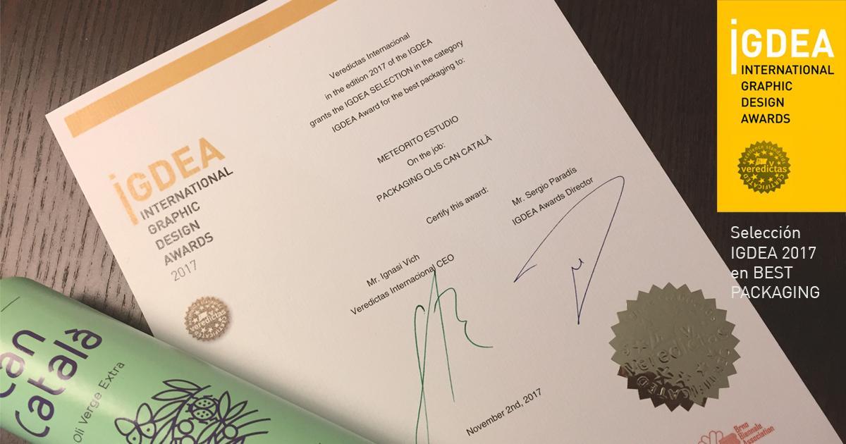 "El Veredictas d'Olis Can Català certifica l'excel·lència als International Graphic Design Awards 2017 ""for the best packaging""."
